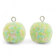 Bedels pompom met oog 15mm Mix pastel green-silver