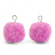 Bedels pompom met oog 15mm Mix lilac purple-silver
