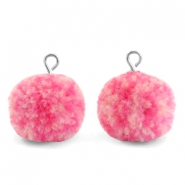 Bedels pompom met oog 15mm Mix pink-silver