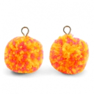 Bedels pompom met oog 15mm Mix orange-silver