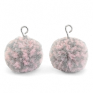 Bedels pompom met oog 15mm Mix pink grey-silver