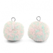 Bedels pompom met oog 15mm Mix turquoise light pink-silver