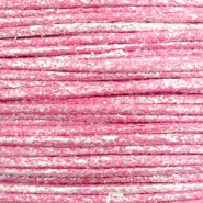 1.0mm Waxkoord metallic Magenta pink
