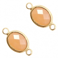 Crystal glas tussenstukken ovaal 10x9mm Light peach opal-gold