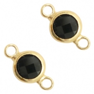 Crystal glas tussenstukken rond 6mm Black opaque-gold