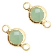 Crystal glas tussenstukken rond 6mm Crysolite green opal-gold