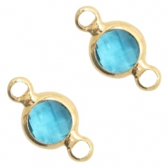 Crystal glas tussenstukken rond 6mm Blue zircon crystal-gold