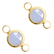 Crystal glas tussenstukken rond 6mm Air blue opal-gold