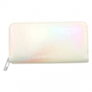 Hippe portemonnees holographic Metallic rainbow-off white