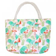 Trendy tas Beach bag flamingo Pink-green