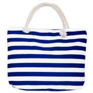 Trendy tas Beach bag stripe White-dark blue