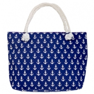 Trendy tas Beach bag anchor Dark blue-white