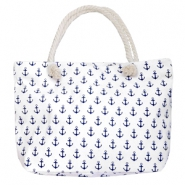 Trendy tas Beach bag anchor White-dark blue