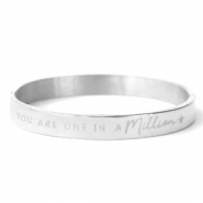 "Armbanden van Stainless steel Roestvrij staal (RVS) ""YOU ARE ONE IN A MILLION"" Zilver"