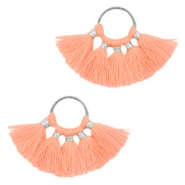 Kwastje hanger Silver-neon orange