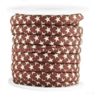 Trendy koord 6x4mm gestikt ster Aubergine red-brown
