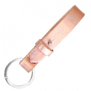 Cuoio leren sleutelhangers 15mm Holographic rosegold