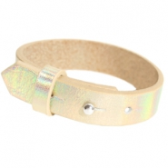 Armbanden Cuoio leer 15 mm voor 20 mm cabochon Holographic champagne