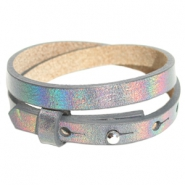 Armbanden Cuoio leer 8 mm dubbel voor 12 mm cabochon Holographic anthracite