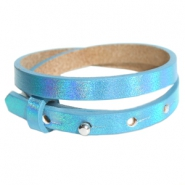 Armbanden Cuoio leer 8 mm dubbel voor 12 mm cabochon Holographic blue