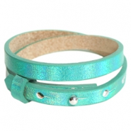 Armbanden Cuoio leer 8 mm dubbel voor 12 mm cabochon Holographic green