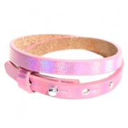 Armbanden Cuoio leer 8 mm dubbel voor 12 mm cabochon Holographic pink