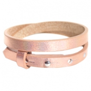 Armbanden Cuoio leer 8 mm dubbel voor 12 mm cabochon Holographic rosegold