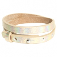 Armbanden Cuoio leer 8 mm dubbel voor 12 mm cabochon Holographic champagne