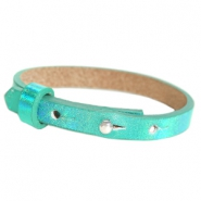 Cuoio armband voor kids 8mm voor 12mm cabochon Holographic green