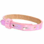 Cuoio armband voor kids 8mm voor 12mm cabochon Holographic pink