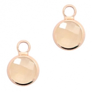 Hanger van crystal glas rond 8mm Light peach opal-rosegold