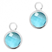 Hanger van crystal glas rond 8mm Turquoise blue crystal-silver