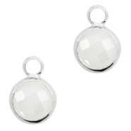 Hanger van crystal glas rond 8mm White opal-silver