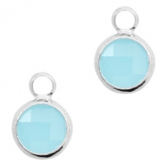 Hanger van crystal glas rond 6mm Turquoise blue opal-silver