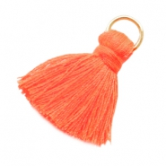 Kwastje small met ring Fluor orange