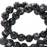 Glaskralen 4 mm stone look Black-purple white