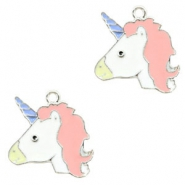 Basic quality metaal bedel unicorn Silver-light pink
