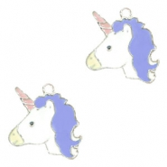 Basic quality metaal bedel unicorn Silver-purple blue