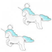 Basic quality metaal bedel unicorn Silver-turquoise blue