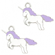 Basic quality metaal bedel unicorn Silver-lavender purple