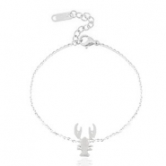 Armbanden van Stainless steel Roestvrij staal (RVS) lobster Silver