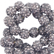 Strass kralen 10 mm Anthracite grey