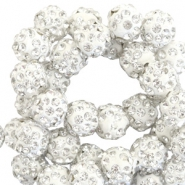 Strass kralen 8 mm Silver white