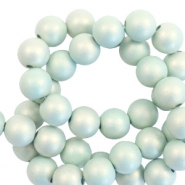 6 mm kralen van acryl matt Light turquoise-pearl coating