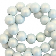 6 mm kralen van acryl matt Light blue-pearl coating