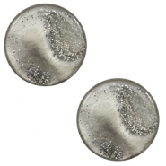 12 mm platte Polaris Elements cabochon stardust Warm grey