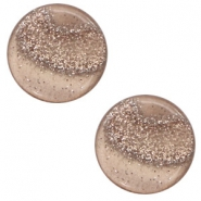 12 mm platte Polaris Elements cabochon stardust Taupe brown