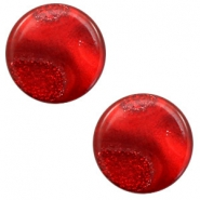 12 mm platte Polaris Elements cabochon stardust Warm red