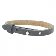 Cuoio armband voor kids 8mm voor 12mm cabochon Lava grey