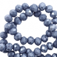 Facet kralen top quality disc 4x3 mm Light denim blue-pearl shine coating